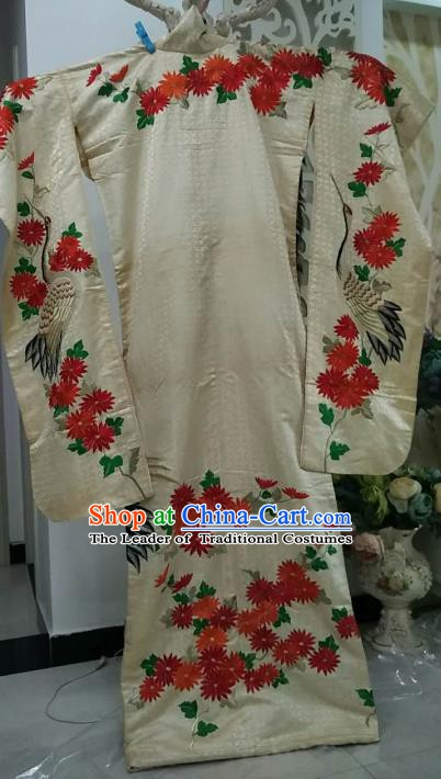 Ancient Japanese Palace White Furisode Kimonos Traditional Wedding Yukata Dress Formal Costume for Women