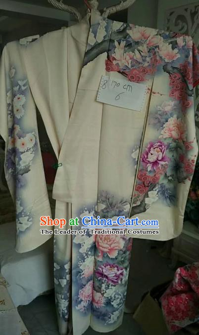 Ancient Japanese Palace Furisode Kimonos Traditional Printing Peony Yukata Dress Formal Costume for Women