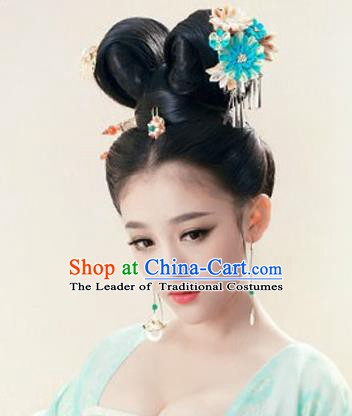 Asian Chinese Tang Dynasty Palace Lady Wigs and Hair Accessories for Women