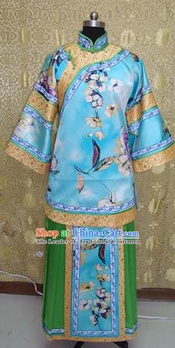 Chinese Ancient Manchu Palace Lady Costume Qing Dynasty Young Mistress Xiuhe Suit for Women