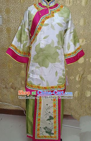 Chinese Ancient Manchu Lady Costume Qing Dynasty Young Mistress Xiuhe Suit for Women