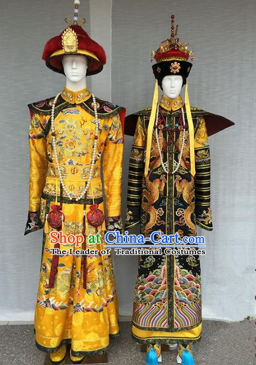 Chinese Qing Dynasty Manchu Emperor and Empress Embroidered Costume Complete Set