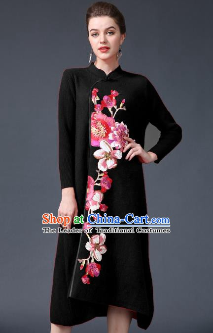 Chinese National Costume Embroidered Peony Black Cheongsam Qipao Dress for Women