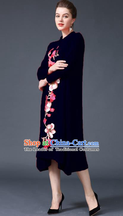 Chinese National Costume Embroidered Peony Navy Cheongsam Qipao Dress for Women