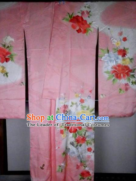 Ancient Japanese Palace Printing Pink Furisode Kimonos Traditional Yukata Dress Formal Costume for Women