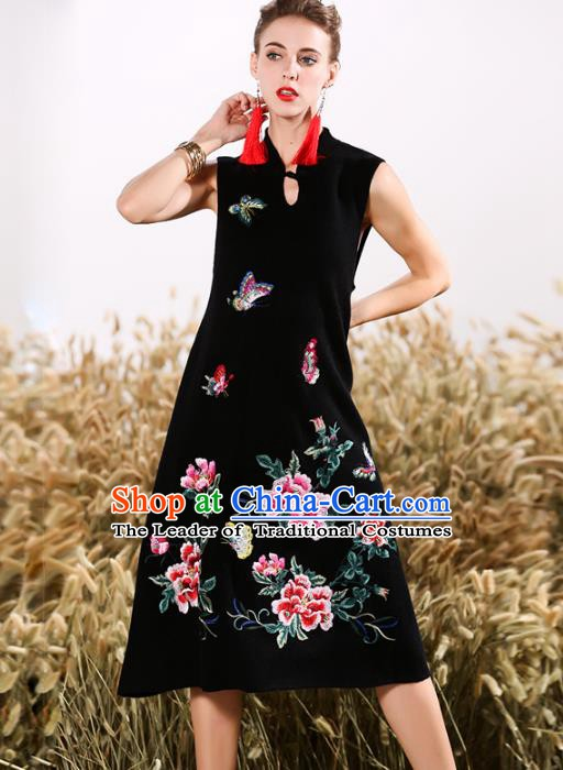 Chinese National Costume Embroidered Peony Butterfly Black Qipao Dress Cheongsam for Women