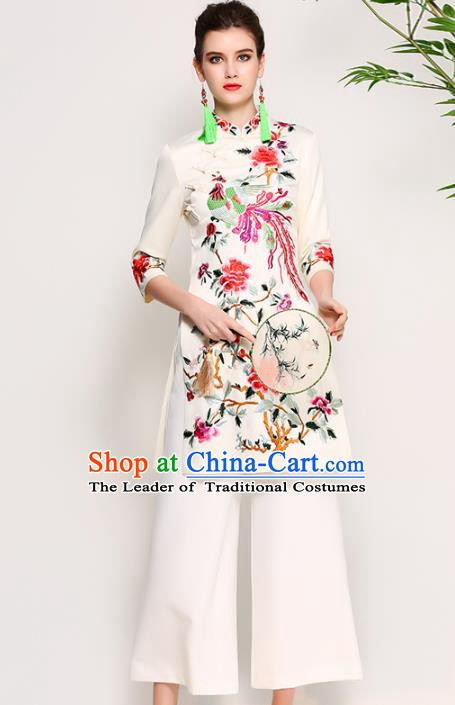 Chinese National Costume Embroidered Phoenix Peony White Qipao Dress Cheongsam for Women
