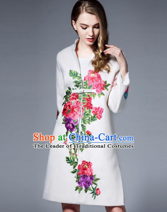 Chinese National Costume White Wool Coats Traditional Embroidered Peony Dust Coats for Women