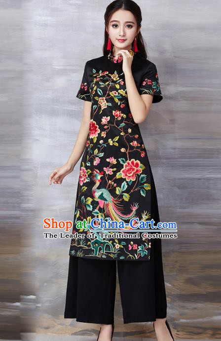 Chinese National Costume Black Cheongsam Embroidered Peony Stand Collar Qipao Dress for Women