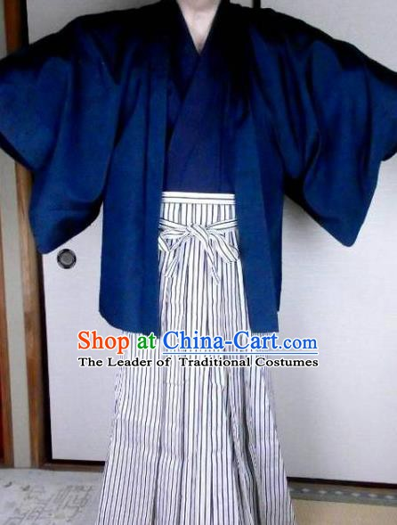 Japanese Garment Samurai Kimono Male Yukata Traditional Wafuku Hakama Haori Costume for Men