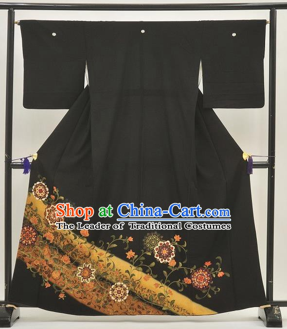Japanese Samurai Garment Kimono Printing Black Yukata Robe Traditional Wafuku Hakama Costume for Men