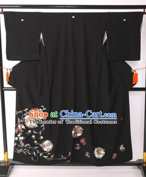 Japanese Samurai Garment Printing Flowers Kimono Palace Black Yukata Robe Traditional Wafuku Hakama Costume for Men