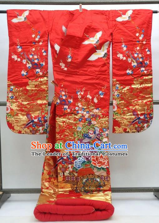 Ancient Japanese Empress Hanayome Garment Palace Red Furisode Kimonos Traditional Yukata Dress Costume for Women