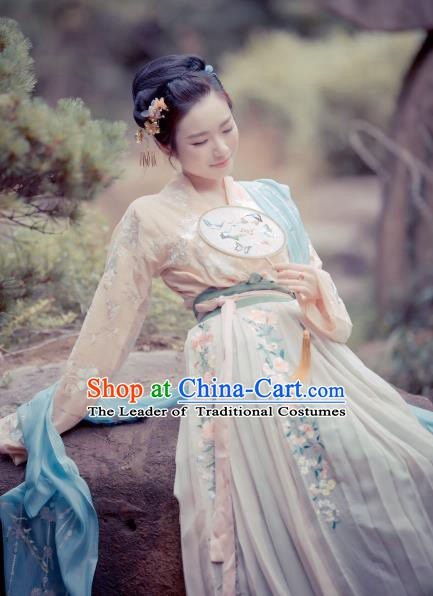 Traditional Chinese Ancient Tang Dynasty Palace Princess Embroidered Costume Hanfu Dress for Women