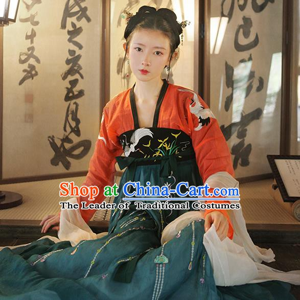 Chinese Ancient Tang Dynasty Royal Princess Costume Embroidered Hanfu Dress for Women