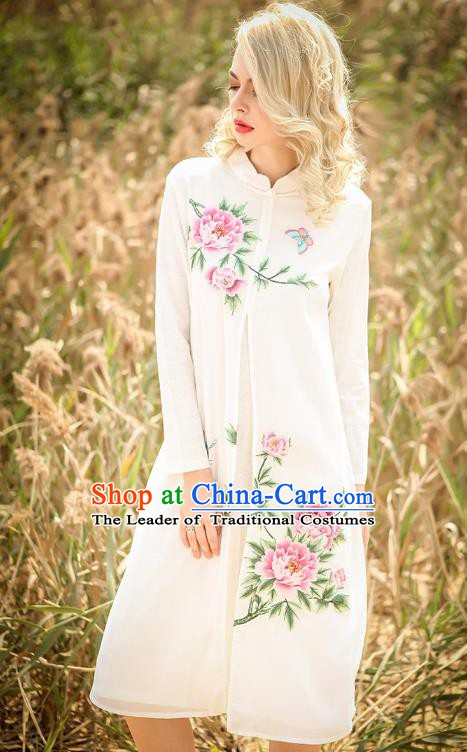 Chinese National Costume White Cheongsam Embroidered Peony Qipao Dress for Women
