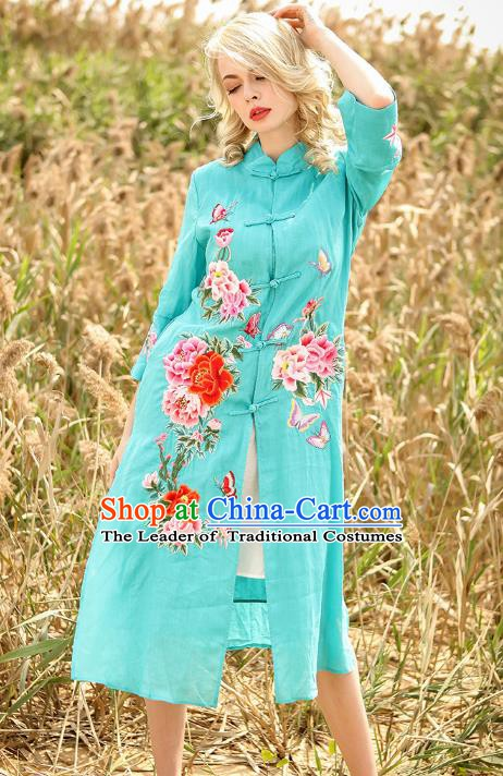 Chinese National Costume Blue Cardigan Cheongsam Embroidered Peony Qipao Dress for Women