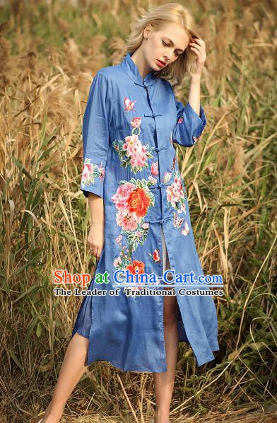 Chinese National Costume Deep Blue Cardigan Cheongsam Embroidered Peony Qipao Dress for Women