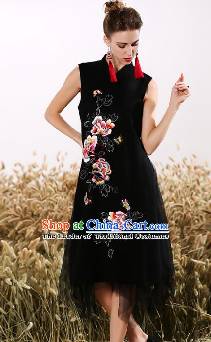 Chinese National Costume Embroidered Peony Black Cheongsam Vintage Veil Qipao Dress for Women