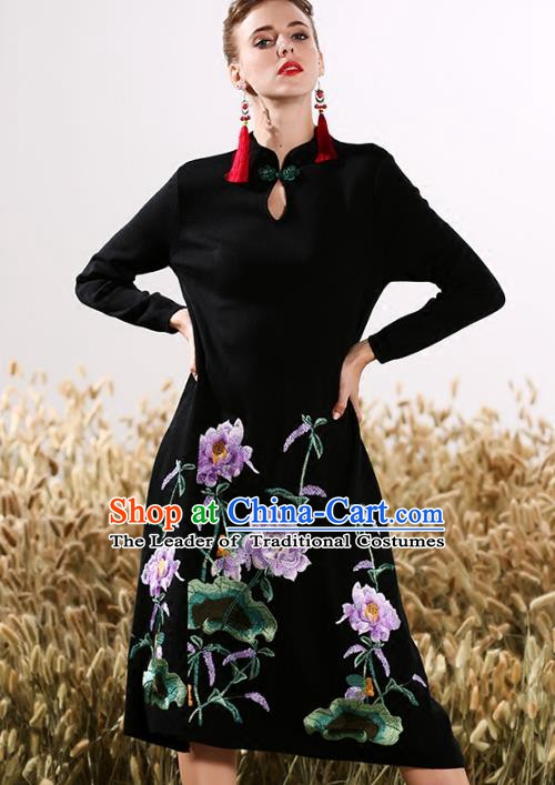 Chinese National Costume Embroidered Peony Cheongsam Black Wool Qipao Dress for Women