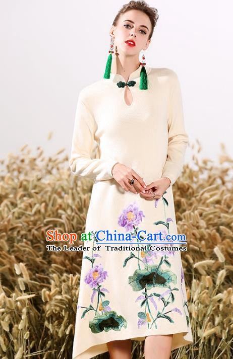 Chinese National Costume Embroidered Peony Cheongsam Beige Wool Qipao Dress for Women