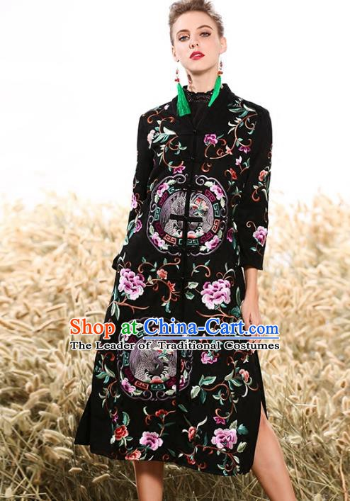 Chinese National Costume Plated Buttons Coats Traditional Embroidered Black Dust Coat for Women