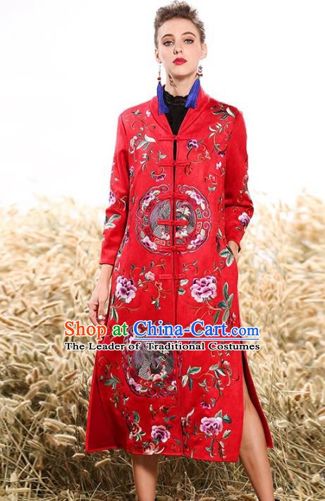 Chinese National Costume Plated Buttons Coats Traditional Embroidered Red Dust Coat for Women