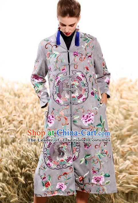 Chinese National Costume Plated Buttons Coats Traditional Embroidered Grey Dust Coat for Women