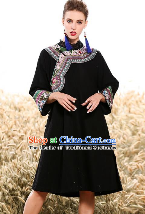 Chinese National Costume Traditional Black Blouse Tang Suit Shirts for Women