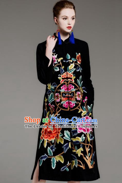Chinese National Costume Embroidered Peony Coats Traditional Black Dust Coat for Women