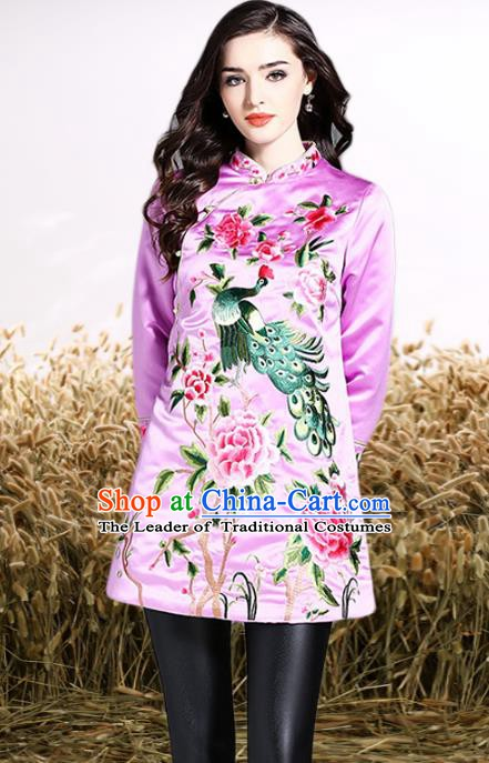Chinese National Costume Tang Suit Lilac Shirts Traditional Embroidered Peony Blouse for Women