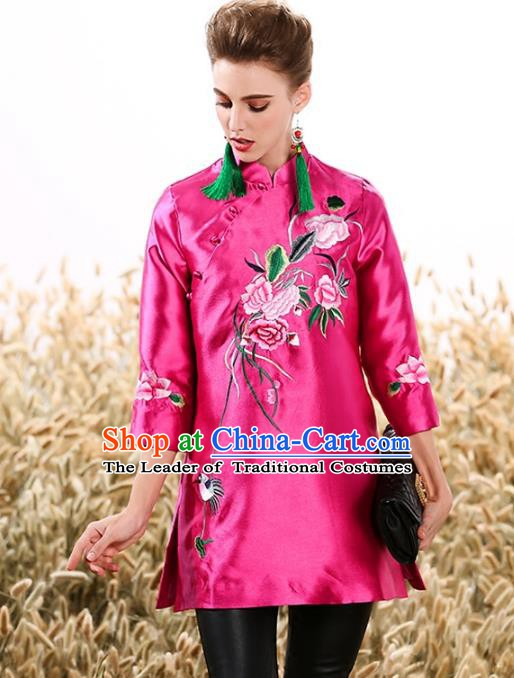 Chinese National Costume Tang Suit Pink Shirts Traditional Embroidered Peony Blouse for Women