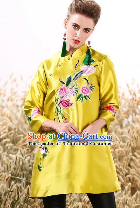Chinese National Costume Tang Suit Yellow Shirts Traditional Embroidered Peony Blouse for Women