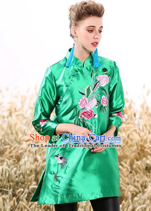 Chinese National Costume Tang Suit Green Shirts Traditional Embroidered Peony Blouse for Women