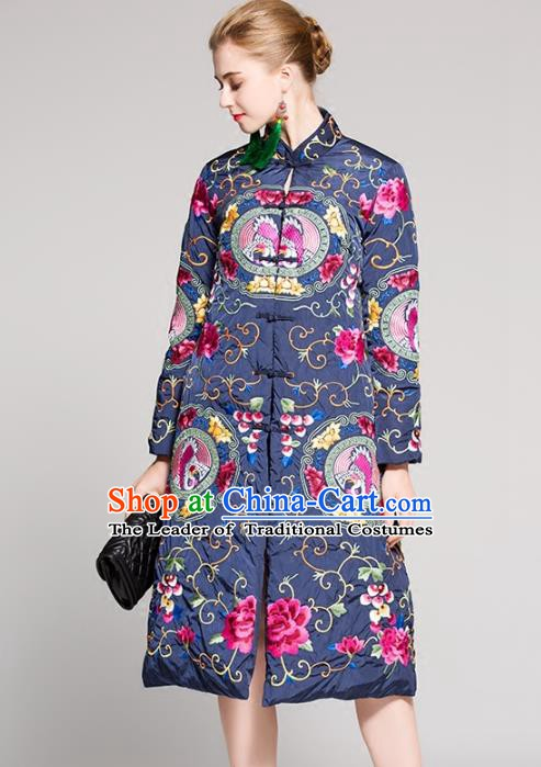 Chinese National Costume Embroidered Cotton-Padded Coats Traditional Blue Dust Coat for Women