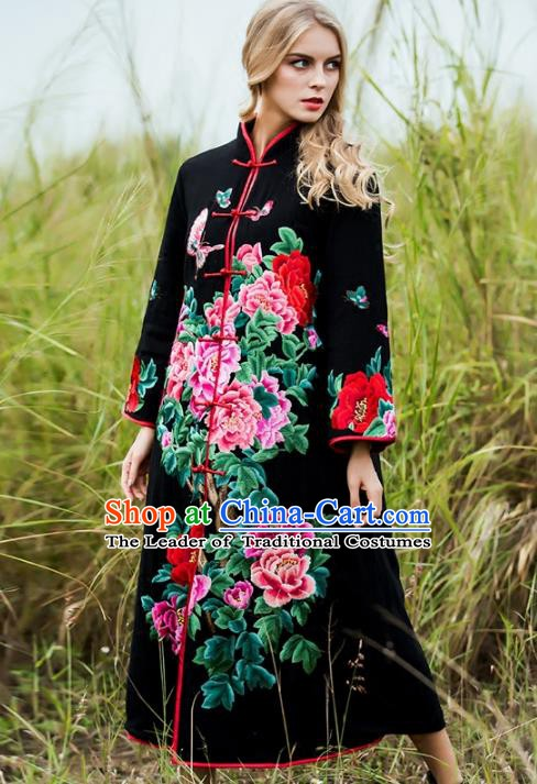 Chinese National Costume Embroidered Peony Black Coats Traditional Woolen Dust Coat for Women