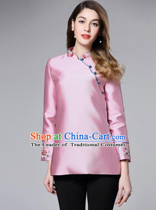 Chinese National Costume Tang Suit Pink Shirts Traditional Embroidered Blouse for Women