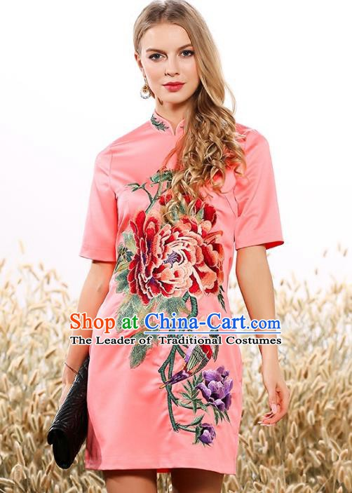 Chinese National Costume Cheongsam Embroidered Peony Pink Dress Tang Suit Qipao for Women