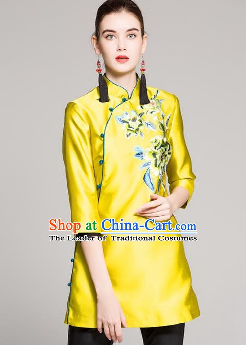 Chinese National Costume Tang Suit Shirts Traditional Embroidered Yellow Blouse for Women