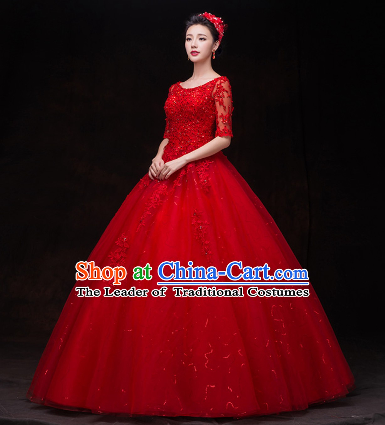 Top Classical Red Romantic Princess Wedding Dress