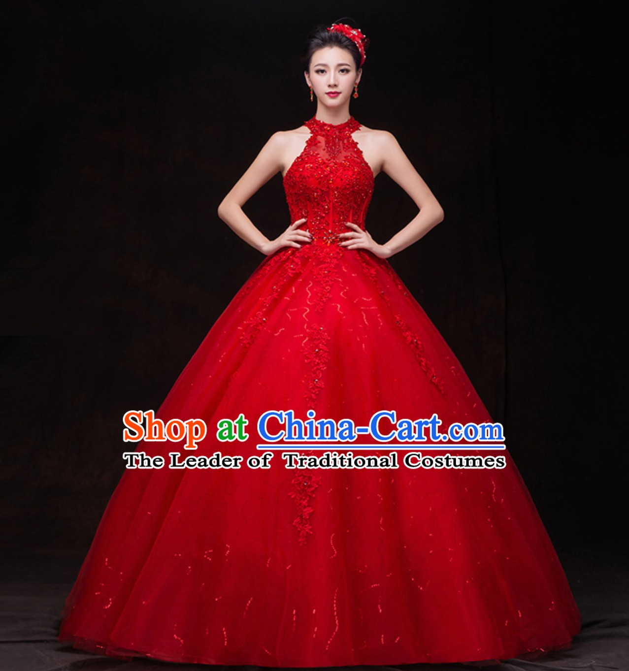 Top Romantic Handmade Princess Red Wedding Dresses
