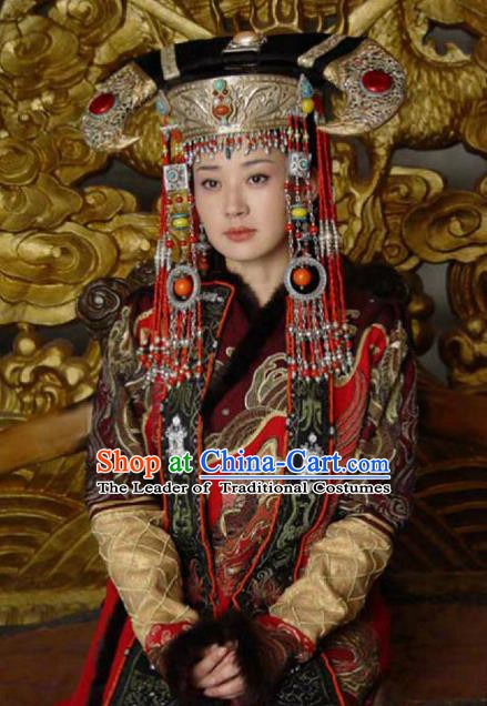 Chinese Traditional Mongolian Lady Historical Costume China Qing Dynasty Empress Dowager Xiaozhuang Clothing