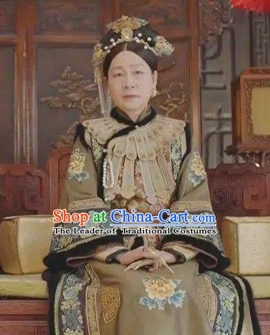 Chinese Traditional Palace Lady Historical Costume China Qing Dynasty Empress Dowager Ci Xi Clothing