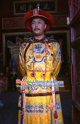 Chinese Traditional Historical Costume China Qing Dynasty Yongzheng Emperor Embroidered Clothing