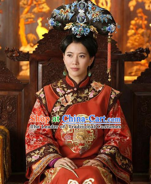 Chinese Ancient Manchu Lady Historical Costume China Qing Dynasty Empress Dowager Xiaozhuang Clothing