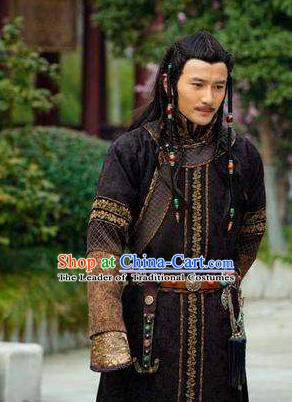 Chinese Traditional Historical Costume China Qing Dynasty Mongolian Prince Clothing