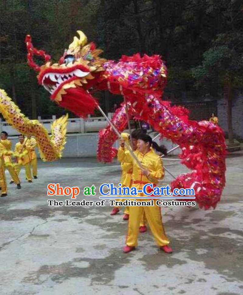 Top Chinese Classical Parade Procession Blue Rainbow Dragon Dance Costumes Complete Set for 8 People Adults or Kids
