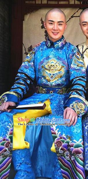 Chinese Traditional Kangxi Emperor Historical Costume China Qing Dynasty Majesty Clothing