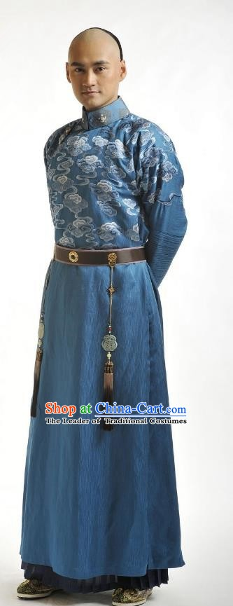 Chinese Traditional Kangxi Thirteen Prince Yin Xiang Historical Costume China Qing Dynasty Embroidered Clothing