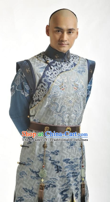 Chinese Traditional Kangxi Thirteen Prince Yinxiang Historical Costume China Qing Dynasty Embroidered Clothing